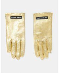 House of Holland Золотые Кожаные Перчатки С Логотипом -коричневый Цвет