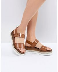 Dune - Leather Flatform Sandal With Studded Sole - Lyst