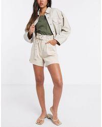 Mango Belt Detail Raw Hem Denim Shorts - Natural