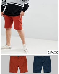 D-Struct Plus Chino Shorts 2 Pack - Red