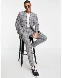 TOPMAN Pantaloni da abito skinny grigi a quadri grandi - Nero