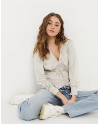 Abercrombie & Fitch - Satin Long Sleeve Blouse - Lyst