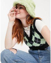 Bershka Пушистый Вязаный Жилет С Узором «ромбиком» Зелено-черного Цвета -многоцветный
