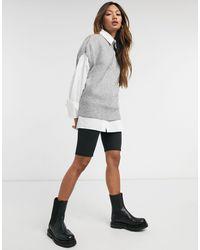 Vero Moda – Strick-Trägershirt mit hohem Kragen - Grau