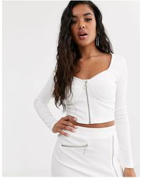 4th & Reckless Zip Through Top With Boning - White
