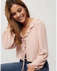 Miss Selfridge Tie Front Blouse - Pink