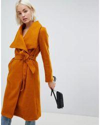 Girls On Film Tie Front Waterfall Coat - Yellow