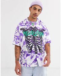 Jaded London Chemise oversize à manches courtes avec imprimé cage thoracique - tie-dye - Violet