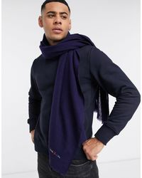 Paul Smith Embroidered Logo Wool Scarf - Blue