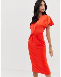 Ted Baker Ellame Wrap Over Bodycon Dress - Orange