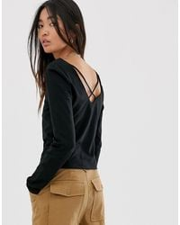 ONLY Cropped Square Neck Top With Cross Back - Black