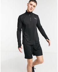 PUMA Черный Свитшот На Короткой Молнии Running Favorite-черный Цвет