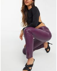 Missguided Faux Leather Trouser With Side Split - Purple
