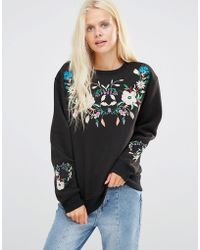 Daisy Street - Sweatshirt With Floral Embroidery - Lyst