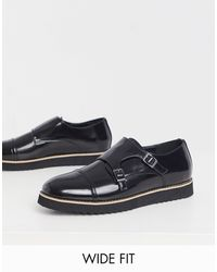 Truffle Collection Wide Fit Casual Monk Strap Shoes - Black
