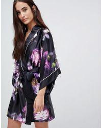 Ted Baker Sunlit Floral Kimono Robe - Black