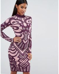 Wow Couture Knitted Bandage Dress In Jacquard - Purple