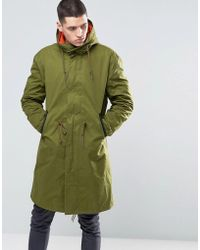 Pretty Green - Parka With Contrast Removable Liner In Green - Lyst