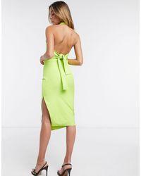 Lavish Alice Halterneck Backless Midi Dress - Green