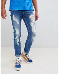 Brooklyn Supply Co. - Jean skinny - Bleu délavé avec déchirures - Lyst