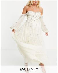 Maya Maternity Bardot Long Sleeve Tulle Maxi Dress With Floral Sequin - White