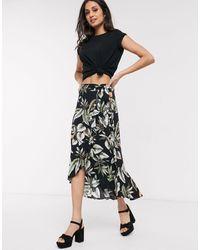 Oasis Tropical Leaf Bird Print Wrap Midi Skirt - Black