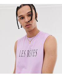 ASOS Tall - Mouwloos T-shirt Met Verlaagde Armsgaten En Tekstprint - Paars