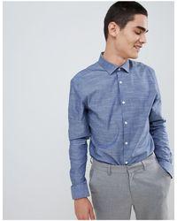 Moss Bros Приталенная Рубашка С Длинными Рукавами Moss London-синий