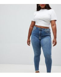 ASOS - Asos Design Curve Ridley High Waist Skinny Jeans In Extreme Mid Wash - Lyst