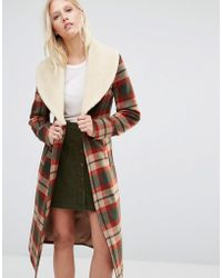 Cooper & Stollbrand - Faux Shearling Collar Check Coat - Lyst