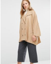 Cooper & Stollbrand - Oversize Double Breasted Short Coat In Camel - Lyst