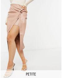 River Island Faux Leather Twist Wrap Midi Skirt - Brown