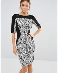 Closet Wardrobe Tapestry Bodycon Dress - Black