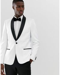 ASOS Blazer da smoking skinny bianco con rever nero