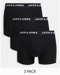 Jack & Jones 3 Pack Trunks With Logo Waistband - Black