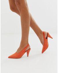 ASOS Stormie - Chaussures à talon mi-haut avec bride arrière - Rouge