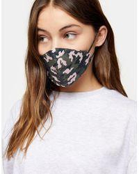 TOPSHOP Masque en tissu à imprimé camouflage - Vert