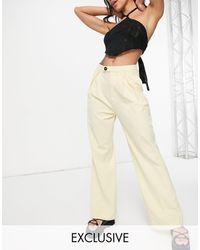 Reclaimed (vintage) - Pantalones color crema - Lyst
