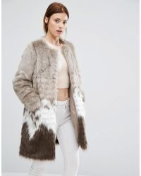 Urbancode Coat In Mix Match Faux Fur - Natural