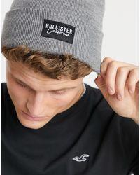 Hollister Berretto a coste grigio con logo