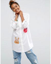 Mini Cream - Long Sleeve Tunic Shirt With Badges - Whx - Lyst