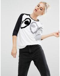 Mini Cream - Oversized Raglan T-shirt With Oversized Eyes Print - Lyst