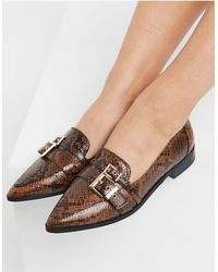 ASOS Mae Pointed Loafers With Buckle - Multicolour