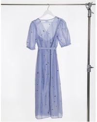 Vila Wrap Midi Dress - Blue