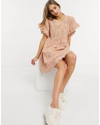 Y.A.S . Frill Sleeve Smock Dress - Red