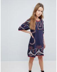 Hazel Embroidered Shift Dress - Blue