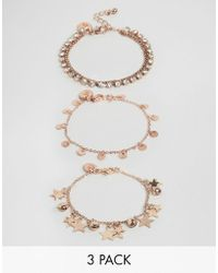 Ashiana - 3 Pack Bracelets With Star And Coin Detail - Lyst