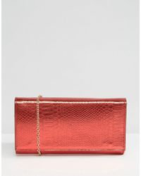 Yoki Fashion | Metallic Faux Snakeskin Clutch Bag | Lyst