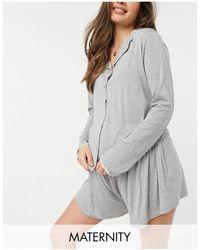 Missguided Мягкий Пижамный Комплект Серого Цвета Из Рубашки С Длинными Рукавами И Шорт -серый