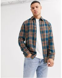 New Look Brushed Check Long Sleeve Shirt - Blue